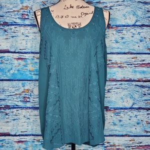 Mossimo Teal Tank Top w/ Tribal Embroidery SZ 2XL